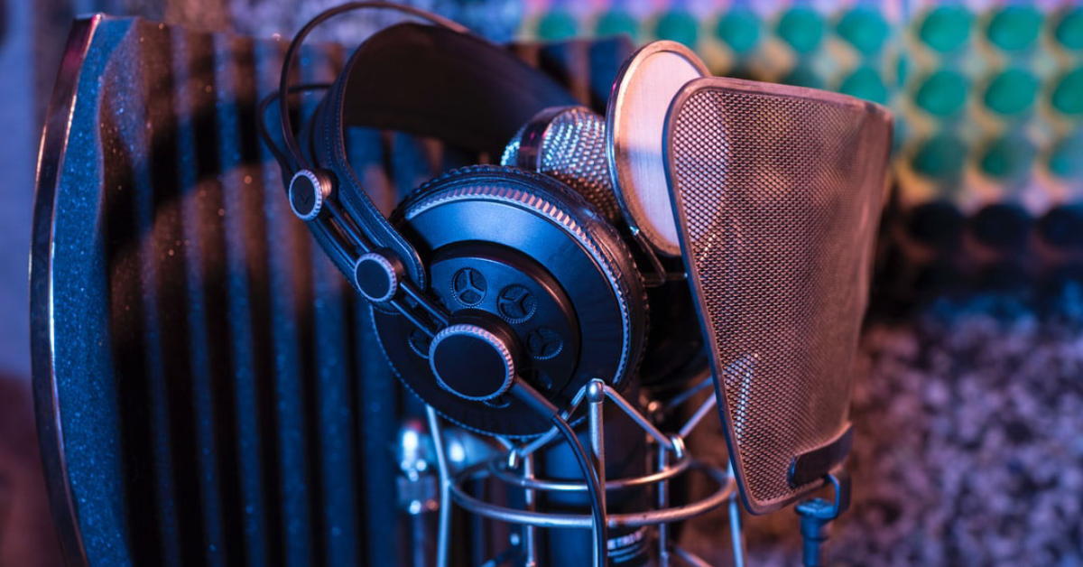 podcasting equipment, headphones, microphone, soundproofing gear